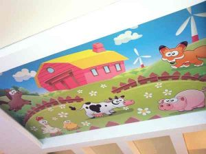 Натяжные потолки для детской комнате, деревня