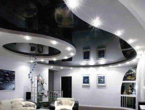 Дизайн натяжных потолков, черный глянец